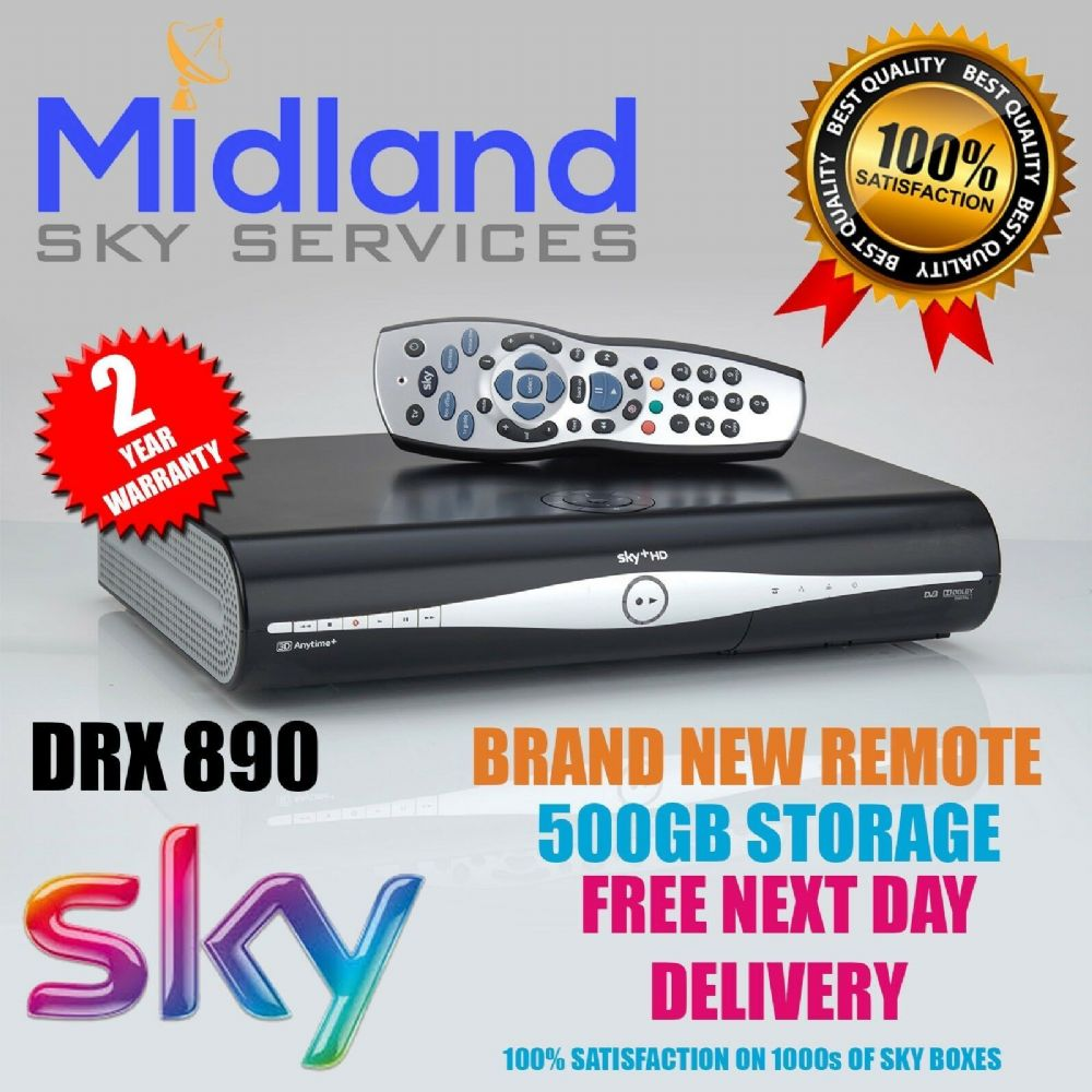 SKY HD BOX DRX890 500GB SATELLITE RECEIVER + REMOTE + POWER CABLE